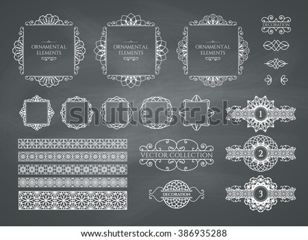 Calligraphic design elements. Vector set of vintage page decorations on chalkboard background - stock vector