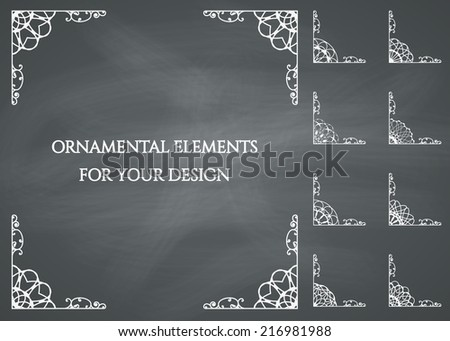 Calligraphic design elements. Vector set on chalkboard background - stock vector