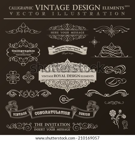 Calligraphic design elements vintage set. Vector ornament frames and scroll ribbon elements