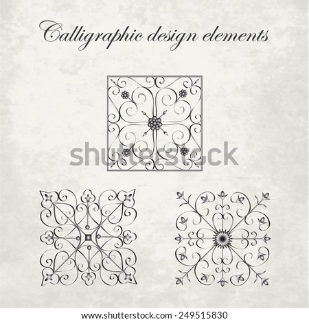 Calligraphic design elements - wrought iron decoration - stock vector