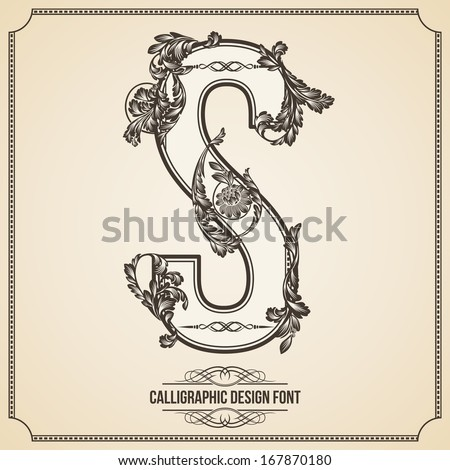 Calligraphic Design Font with Typographic Floral Elements for your Artworks. Nice for Page Decoration. Letter S - stock vector