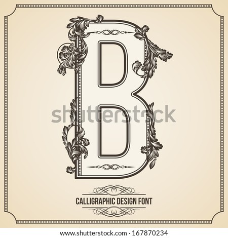 Calligraphic Design Font with Typographic Floral Elements for your Artworks. Nice for Page Decoration. Letter B - stock vector