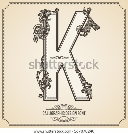 Calligraphic Design Font with Typographic Floral Elements for your Artworks. Nice for Page Decoration. Letter K - stock vector