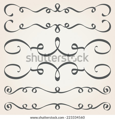 Calligraphic elements and page decoration. Vintage dividers, borders, frames - stock vector