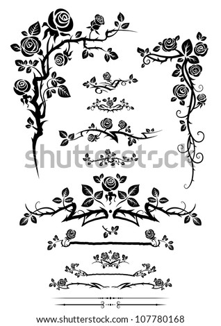 Calligraphic elements set with roses - stock vector