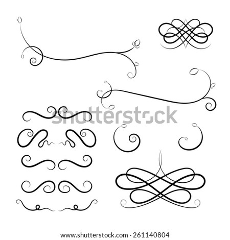 Calligraphic elements. Vector black design illustration - stock vector