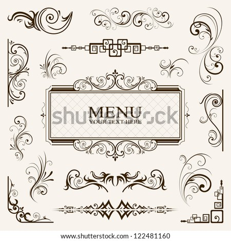 Calligraphic elements vintage vector EPS 10 - stock vector