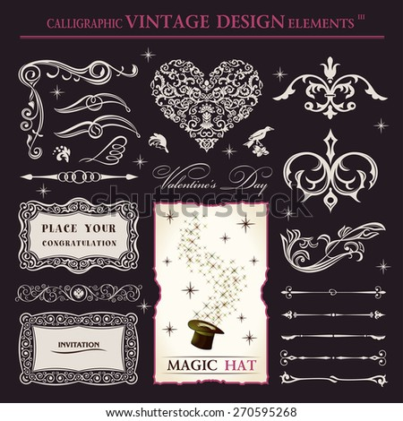 calligraphic elements vintage vector set. holiday patterns frameworks and swirls - stock vector