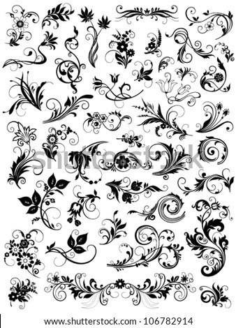 calligraphic floral design elements - stock vector