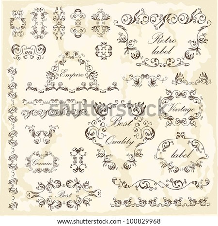 Calligraphic floral elements and frames