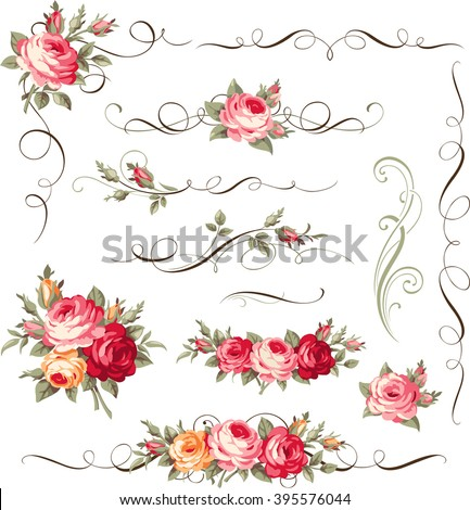 Calligraphic floral ornament with vintage roses for page decoration. Vector bouquet of blooming flowers - stock vector