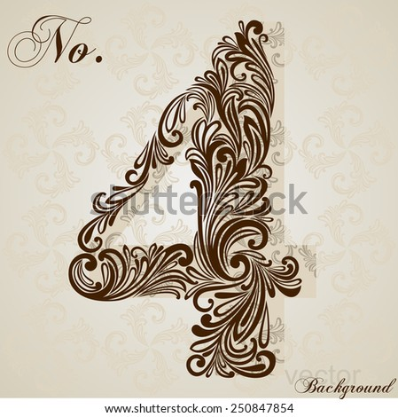 Calligraphic Font. Number four. Vector Design Background. Swirl Style Illustration. - stock vector
