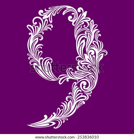Calligraphic Font. Number nine. Vector Design Background. Swirl Style Illustration. - stock vector