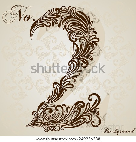 Calligraphic Font. Number Two. Vector Design Background. Swirl Style Illustration. - stock vector