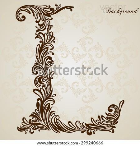 Calligraphic Font Vintage Initials Letter L Vector Design Background Swirl Style Illustration