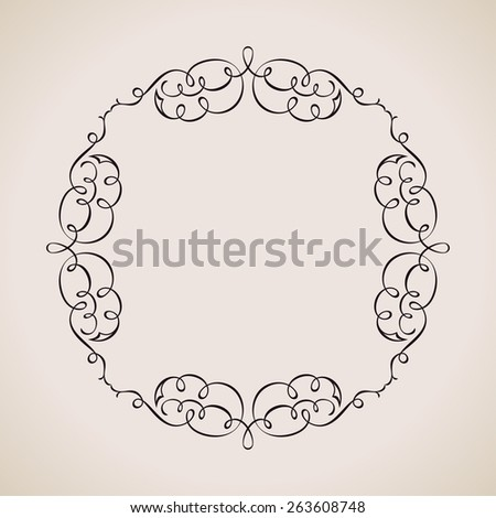 Calligraphic frame and page decoration. Vector background vintage illustration border - stock vector