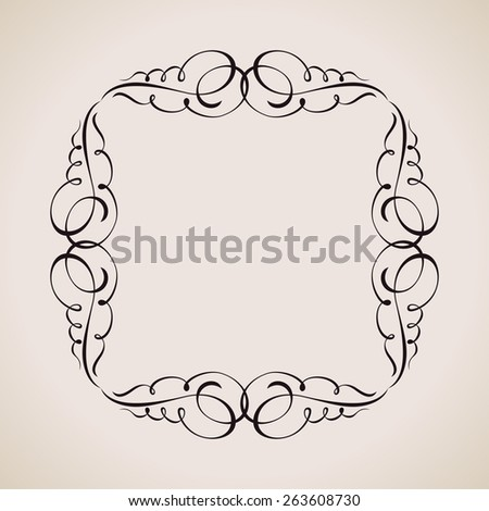 Calligraphic frame and page decoration. Vector background vintage illustration emblem - stock vector
