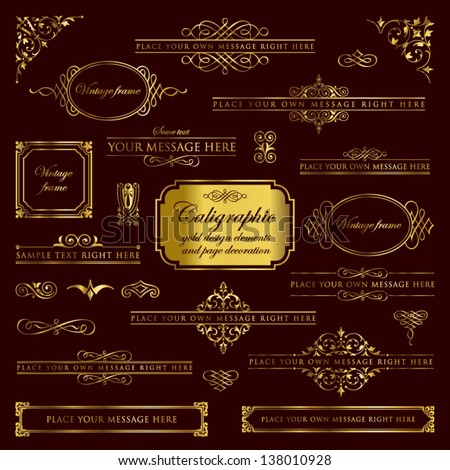 Calligraphic gold design elements and page decoration - stock vector