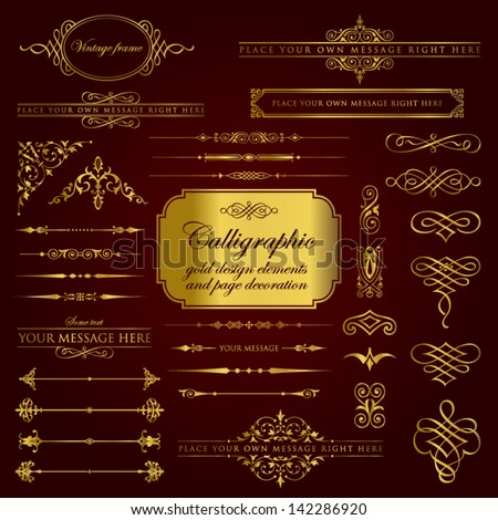Calligraphic gold design elements and page decoration set 1 - stock vector