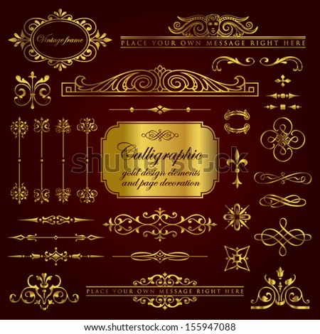 Calligraphic gold design elements and page decoration set 5 - stock vector