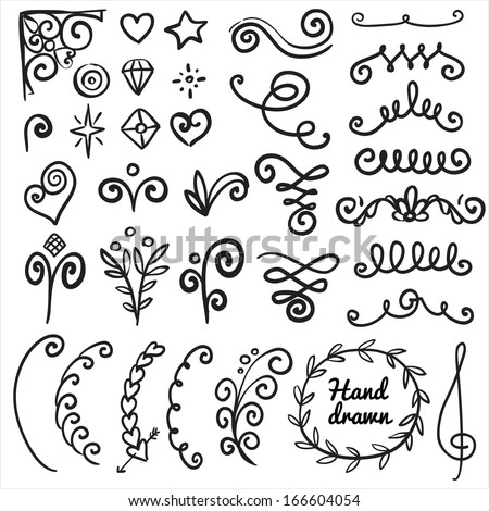 Calligraphic illustration of set of vintage design elements for text; isolated on background. - stock vector