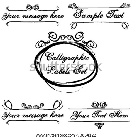Calligraphic Labels - Romantic Design Vector Set - stock vector