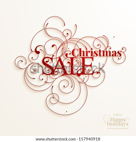 Calligraphic lettering and design elements for Christmas sale promotion - stock vector