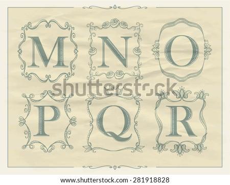 Calligraphic letters in monogram retro frames, alphabet logo set - M, N, O, P, Q, R - stock vector