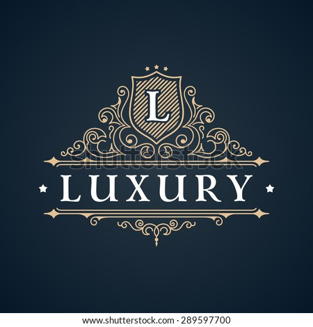 Calligraphic Luxury logo. Emblem elegant decor elements. Vintage vector symbol ornament L - stock vector