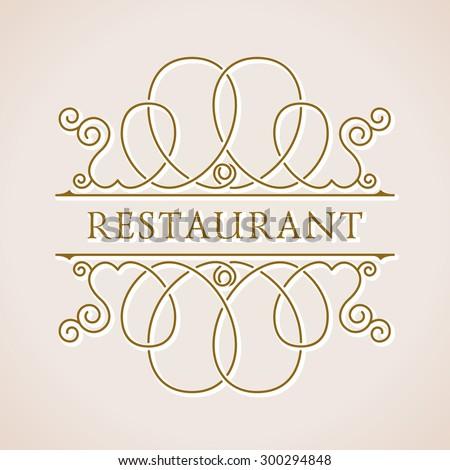 Calligraphic Luxury logo. Vector ornate emblem baroque. Vintage symbol ornament - stock vector