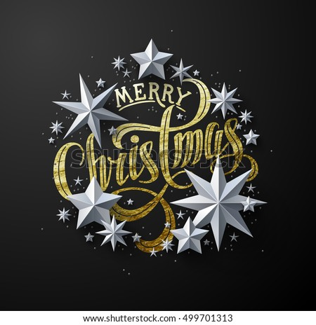 "Calligraphic ""Merry Christmas"" Gold Lettering Decorated with White Paper Stars. Christmas Greeting Card"