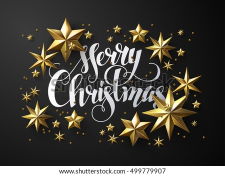 "Calligraphic ""Merry Christmas"" Lettering Decorated with Gold Stars. Christmas Greeting Card"