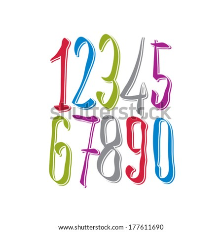 Calligraphic numbers, vector numeration. - stock vector