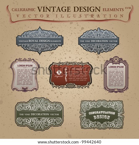 Calligraphic old vintage elements labels. Congratulation and page decoration. Vector frame ornament