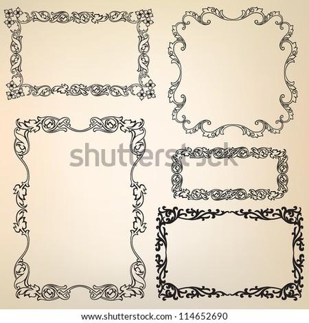Calligraphic retro frames for page decoration. Vintage Vector Design Ornaments - stock vector