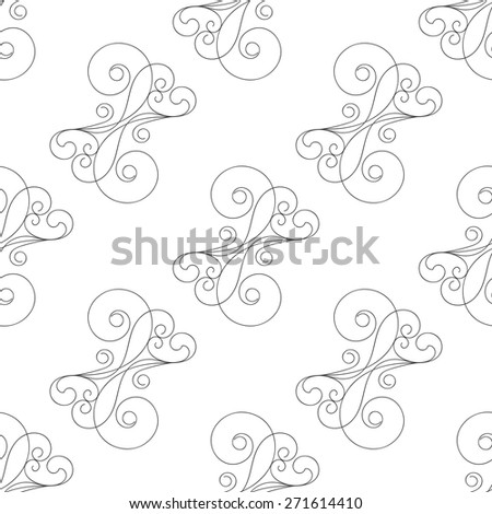 Calligraphic seamless pattern with hand drawn curls. Diagonal abstract background. Vector illustration - stock vector