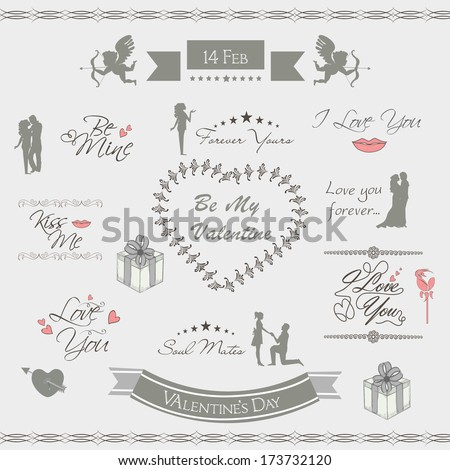 Calligraphic text for Valentines Day celebrations on grey background.