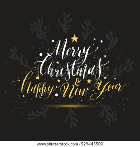 Calligraphic text merry christmas happy new year with snow. Hand drawn style post card.