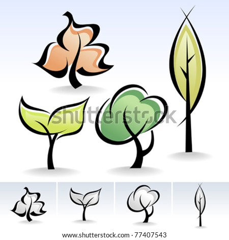 Calligraphic Trees Icon Set - New !
