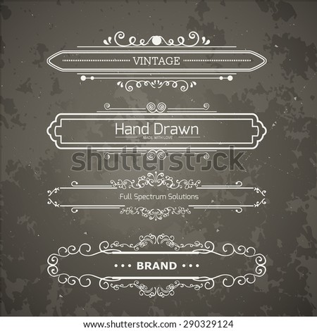 Calligraphic vector design elements and page decoration. Flourishes Calligraphic Ornaments and Frames. Retro Style Design Collection for Invitations, Banners, Posters, Placards, Badges and Logotypes. - stock vector