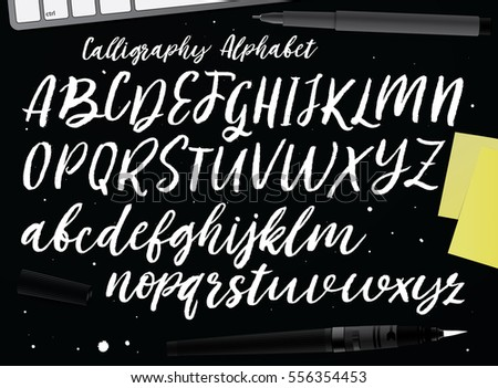 Calligraphic Vector Script Font Handwritten Brush Stock Hd