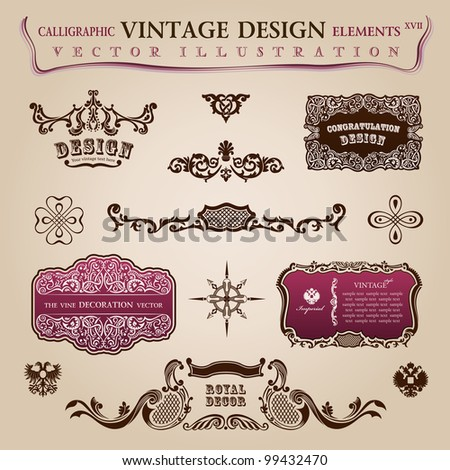 Calligraphic vintage elements labels. Congratulation and page decoration objects. Vector frames ornament - stock vector