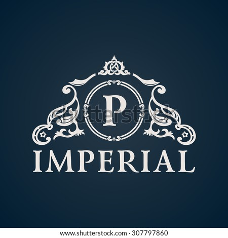 Calligraphic Vintage emblem. Imperial art ornate decor elements. Vector symbol ornament - stock vector