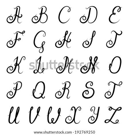 Calligraphic vintage script font alphabet with isolated letters vector illustration - stock vector