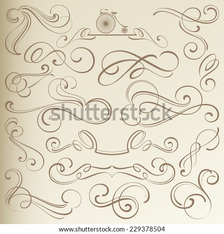Calligraphical Vintage Curlicues, Dividers and Vignettes - stock vector