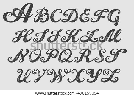 Calligraphy Alphabet Typeset Lettering Hand Drawn Stock