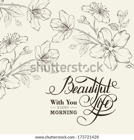 Calligraphy cherry blossom. Beautiful life. Vector illustration.