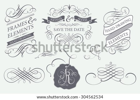 Calligraphy design elements and banners - stock vector
