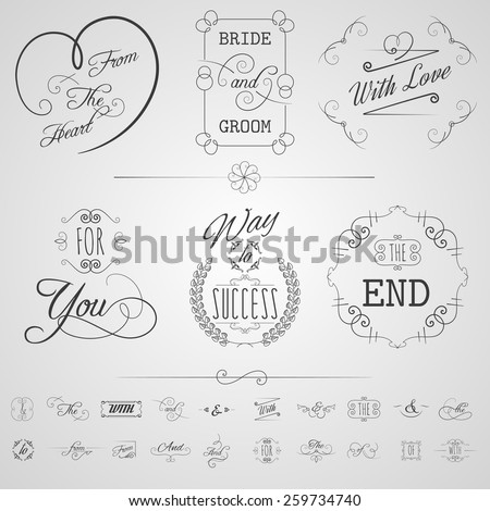 Calligraphy design elements wedding card invitation scrolls set isolated vector illustration - stock vector