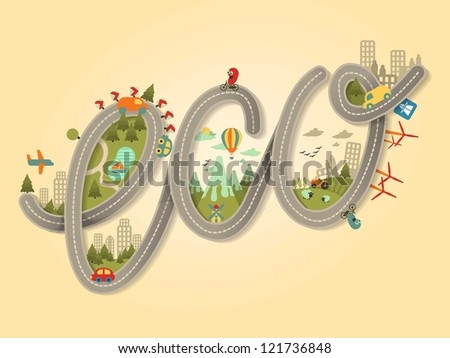 calligraphy ecology background,ecology background - stock vector